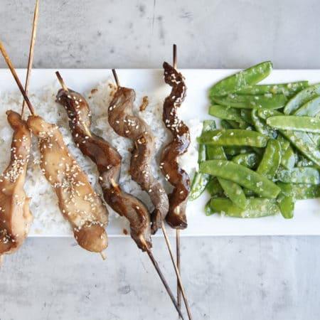 Teriyaki Chicken and Beef Skewers
