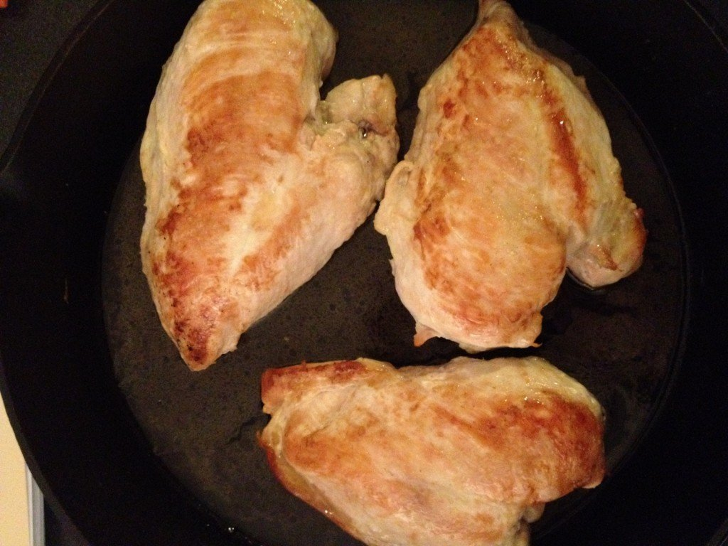 Plain chicken breasts, awaiting their pan sauce.