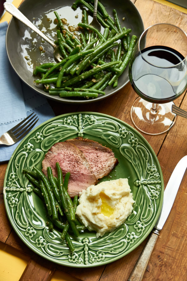 Roast Beef with Mustard Garlic Crust and Horseradish Sauce and Mashed Potatoes / Mia / Katie Workman / themom100.com