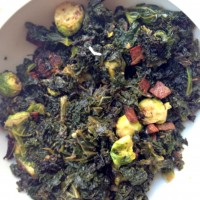 Sauteed Kale and Brussels Sprouts with Bacon