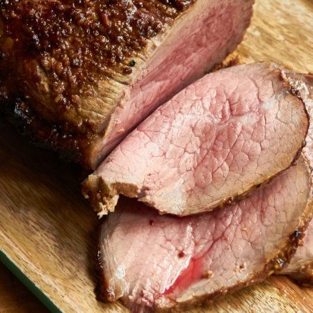 Roast Beef with Mustard Garlic Crust and Horseradish Sauce
