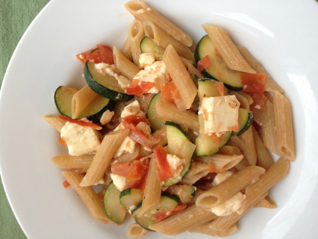 pioneer woman pasta salad with tomatoes zucchini and feta