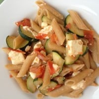 5 Ingredient Pasta #4: Whole Grain Penne with Zucchini, Tomato and Feta