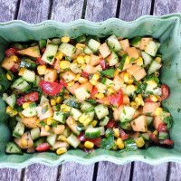 Corn, Cucumber and Cantaloupe Salsa