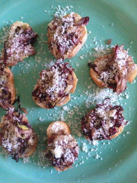 Radicchio and Endive Crostini with Aged Goat Cheese and Balsamic Glaze