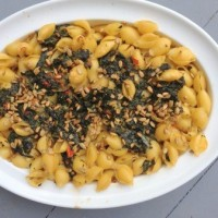 Spinach Goat Cheese Baked Pasta with Sunflower Seeds