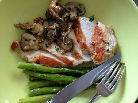 Chicken with Mushrooms in a Cream Sauce