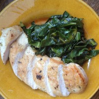 Spanish Rubbed Chicken Breasts with Collard Greens