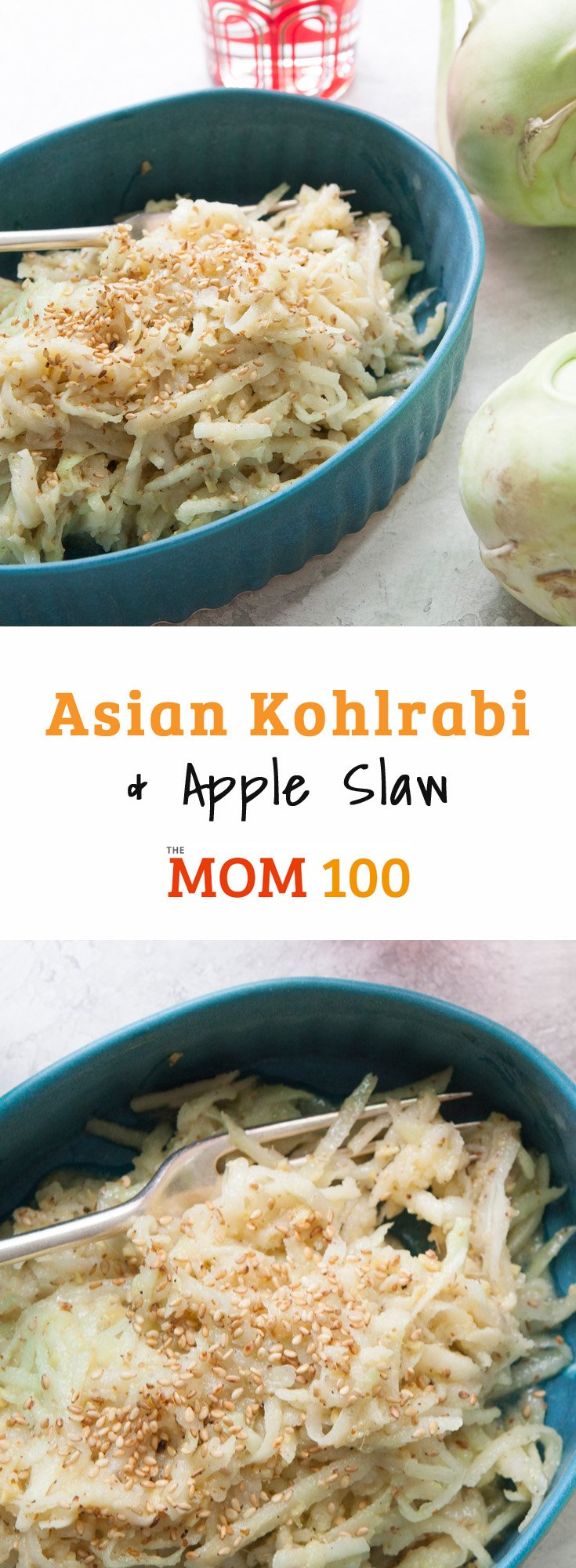 This Asian Kohlrabi and Apple Slaw contains many of the flavors my family is in love with, and it's really zippy and refreshing.