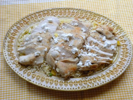 Platter of couscous with chicken