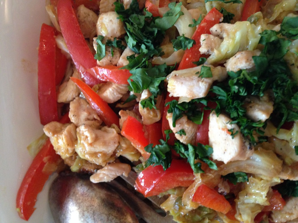 Chicken and pepper Stir Fry with Miso Sauce by Katie Workman/ themom100.com