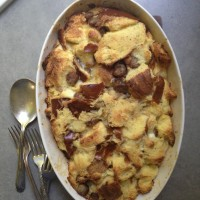 Breakfast Challah, Smoked Cheddar and Sausage Bread Pudding