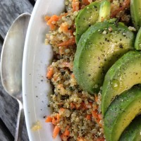 Sesame-Honey Quinoa and Carrot Salad with Sliced Avocado