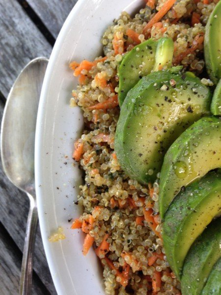 close up carrot quinoa salad