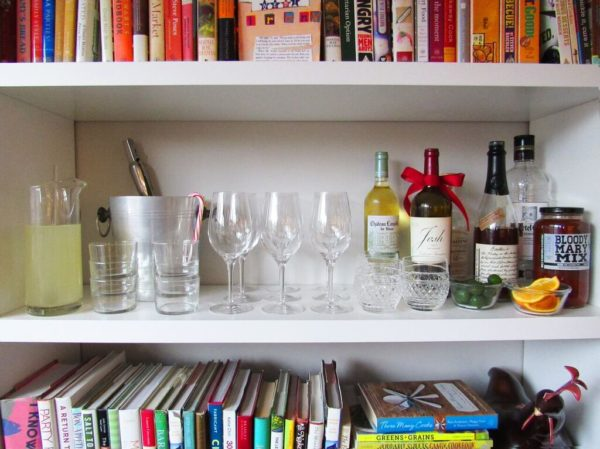 open house bookshelf bar Katie Workman/ 9 Tips for Relaxed Entertaining and Menu Planning
