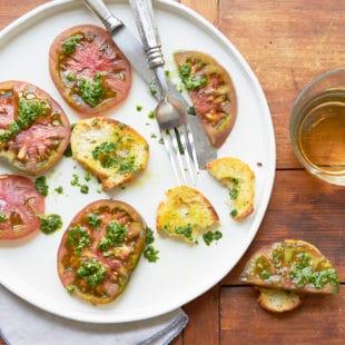 Tomatoes with Mint Basil Pesto / Photo by Mia / Katie Workman / themom100.com