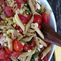 Simplest Tomato, Corn, Basil and Mozzarella Pasta Salad