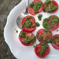 Tomatoes with Mint Basil Pesto