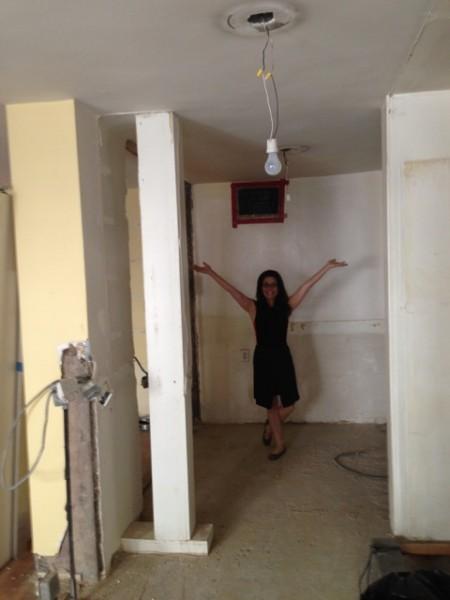 katie in gutted kitchen