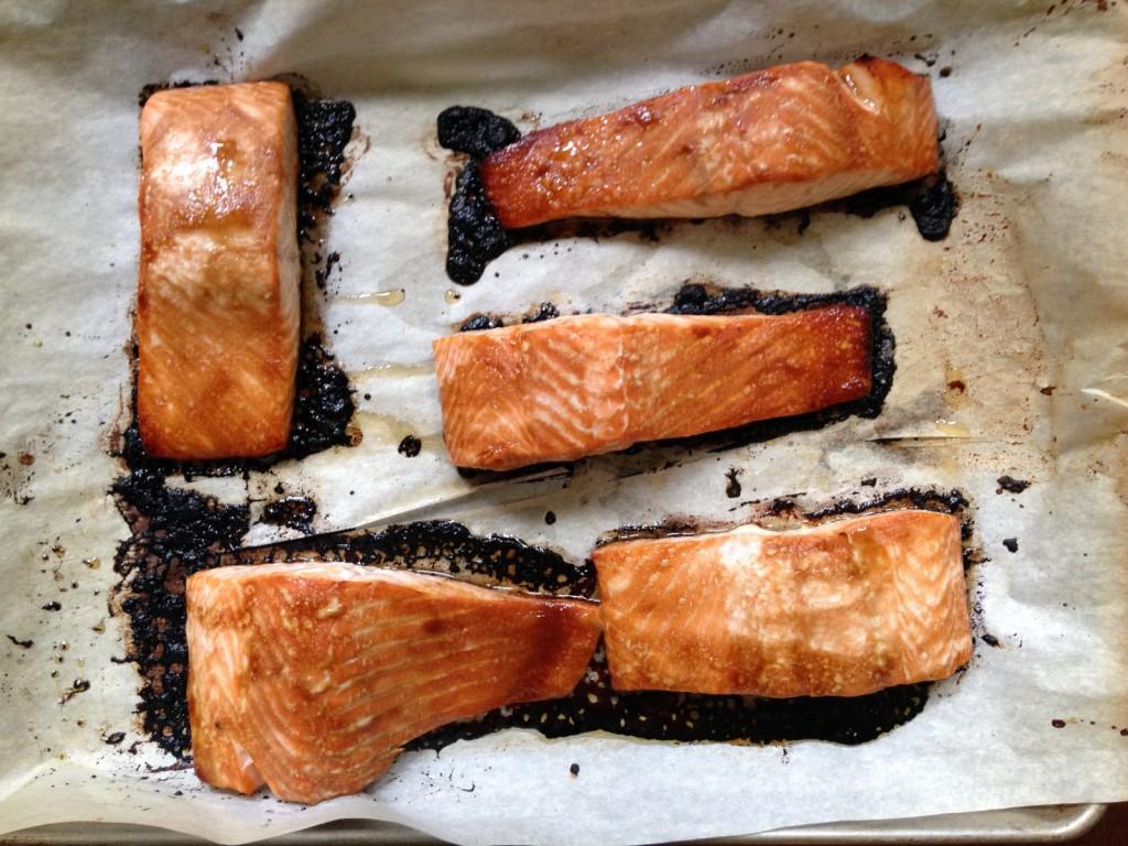 Cooked Asian Salmon on Baking Sheet