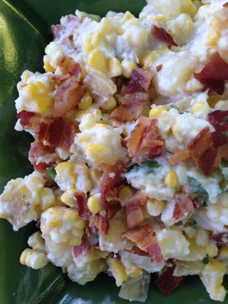close up corn and potato salad
