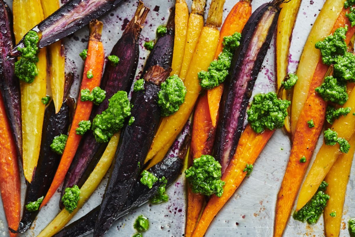 Roasted Carrots with Spinach Parley Pesto
