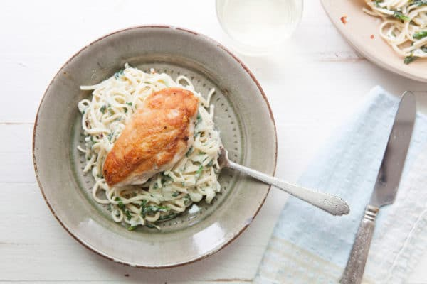 Creamy Goat Cheese and Spinach Linguine / Photo by Kerri Brewer / Katie Workman / themom100.com
