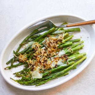 Simple Roasted Asparagus with Shallots and Parmesan / Photo by Mia / Katie Workman / themom100.com