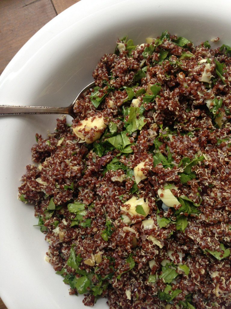 Red Quinoa Salad with Arugula, Artichoke Hearts and Olives