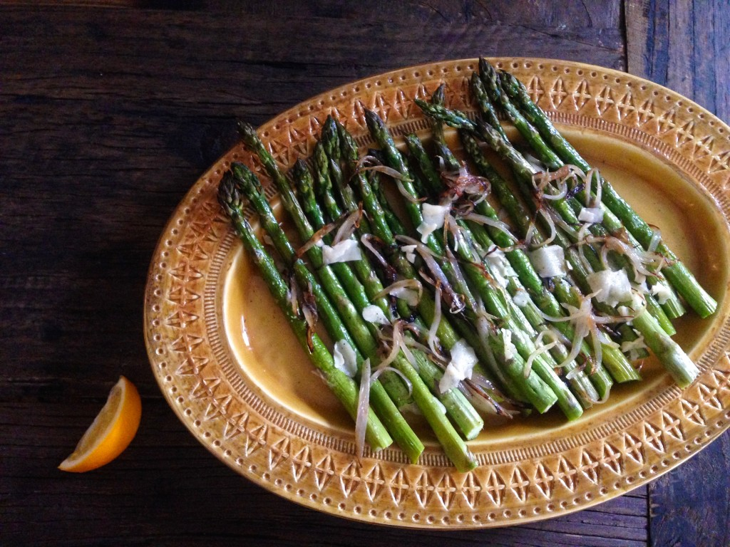 Simple Roasted Asparagus with Shallots and Parmesan from themom100.com, photo by Laura Agra