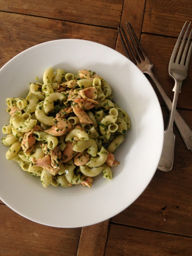Pasta Salad with Salmon and Chimichurri Dressing from Katie Workman/themom100.com