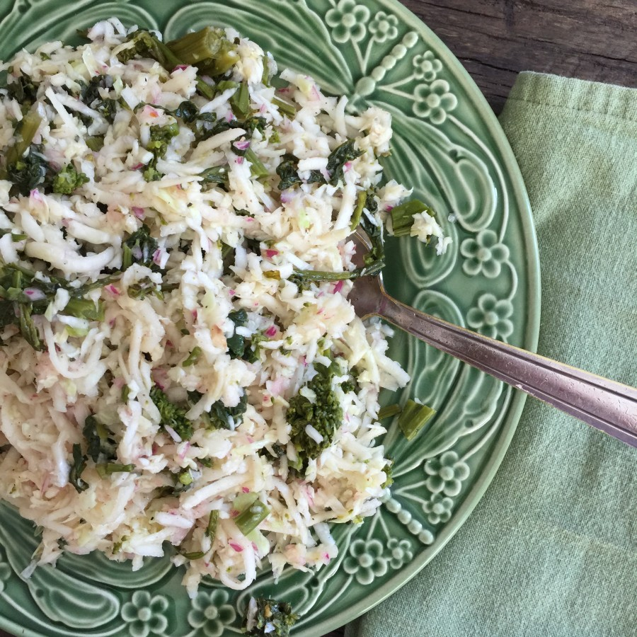 Kohlrabi, Green Cabbage, and Broccoli Rabe Slaw from Katie Workman/ themom100.com
