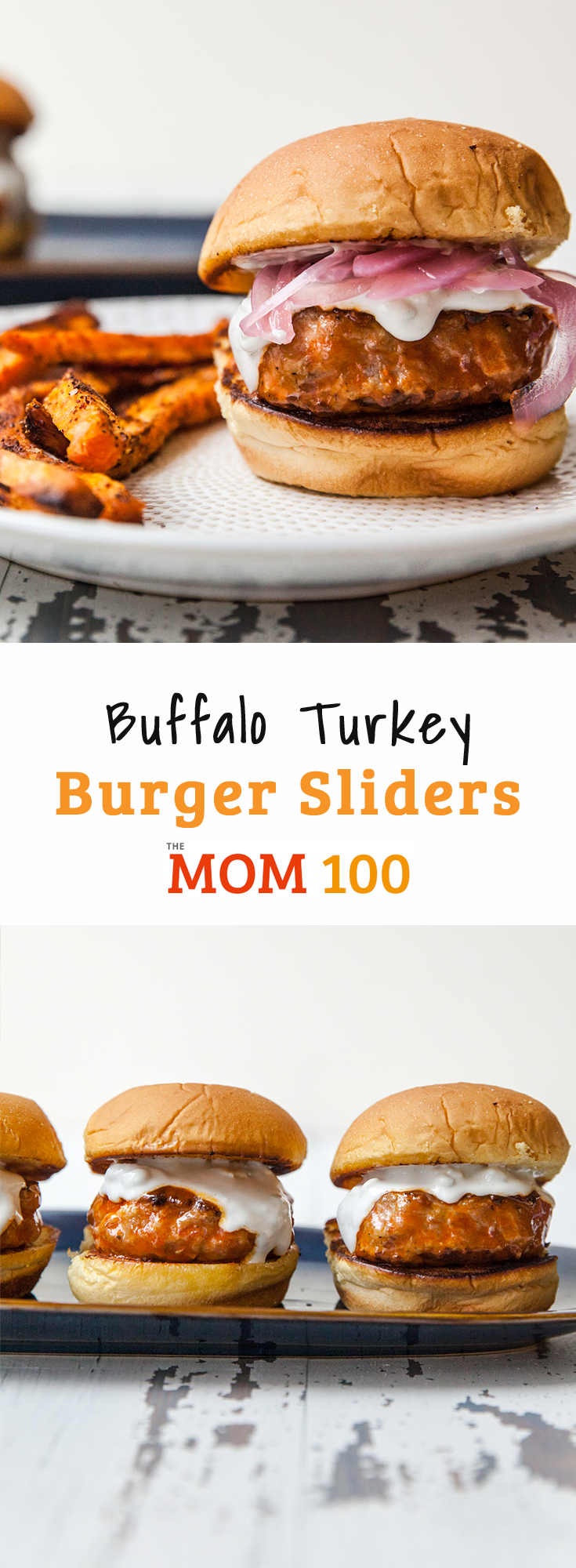 Buffalo Turkey Burger Sliders / Easy buffalo turkey burger sliders that will quickly become part of your regular rotation. Who doesn't love the idea of comfort-bar food at home?