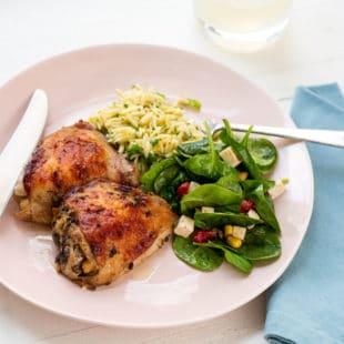 Greek Roasted Chicken Thighs / Cheyenne Cohen / Katie Workman / themom100.com