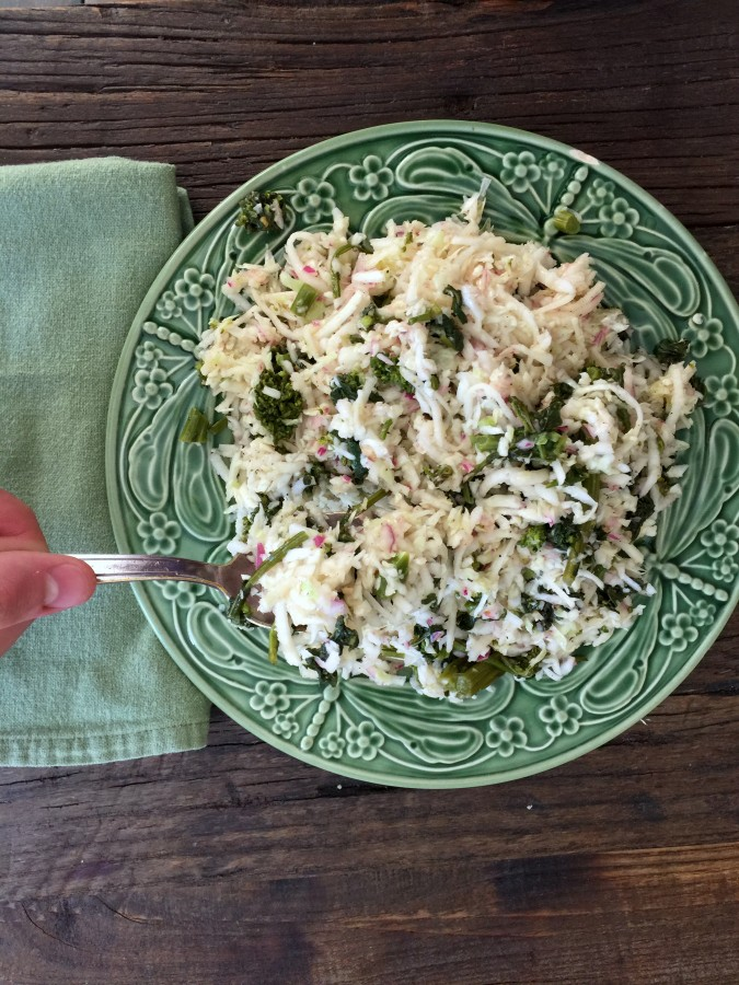 Kohlrabi, Green Cabbage, and Broccoli Rabe Slaw 2 from Katie Workman/ themom100.com