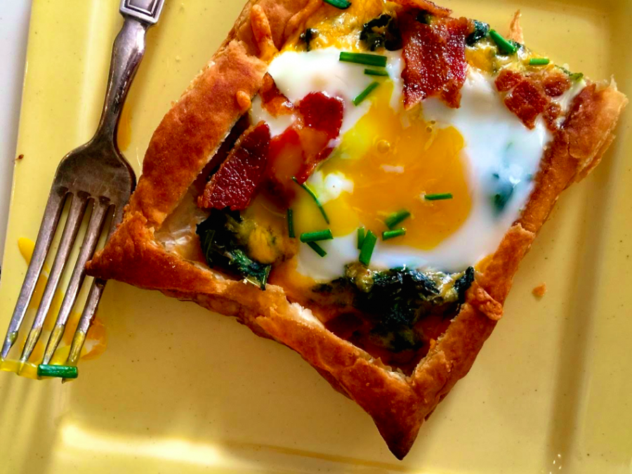 Puff Pastry Breakfast Egg Tarts with Spinach and Shredded Cheese from Katie Workman / themom100.com