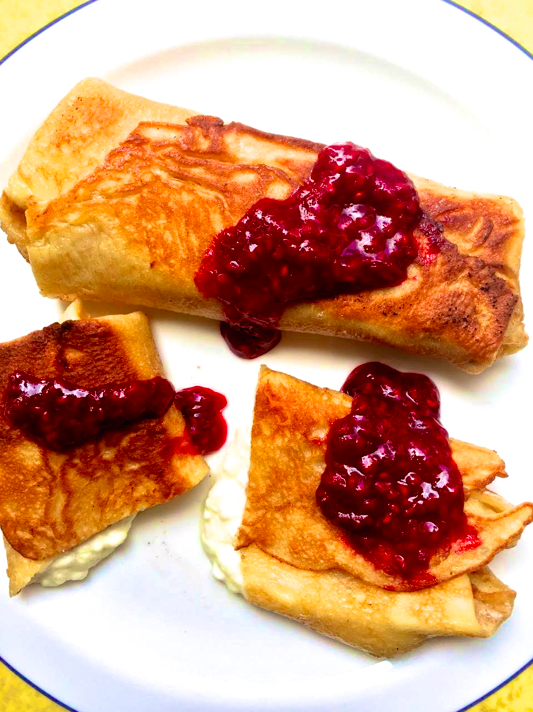 Blintzes with a Creamy Filling and Raspberry Sauce from Katie Workman / themom100.com