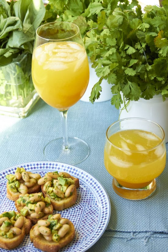peach cocktail and mocktail plus cannellini bean and avocado crostini mia 3