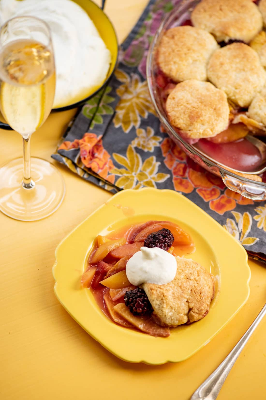 Sour Cream Biscuit Peach and Berry Cobbler / Photo by Cheyenne Cohen / Katie Workman / themom100.com