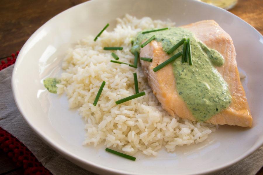 Poached Salmon with Cilantro Sauce / Mandy Maxwell / Katie Workman / themom100.com