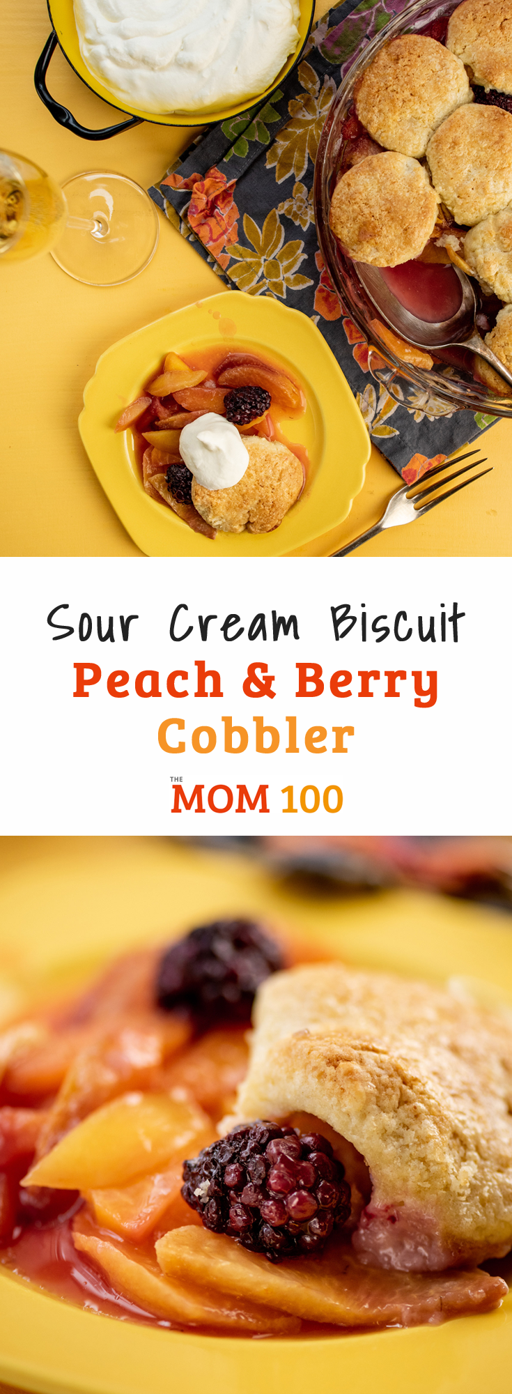 Sour Cream Biscuit Peach and Berry Cobbler: Served warm with ice cream or whipped cream, is one of the best summer desserts ever.