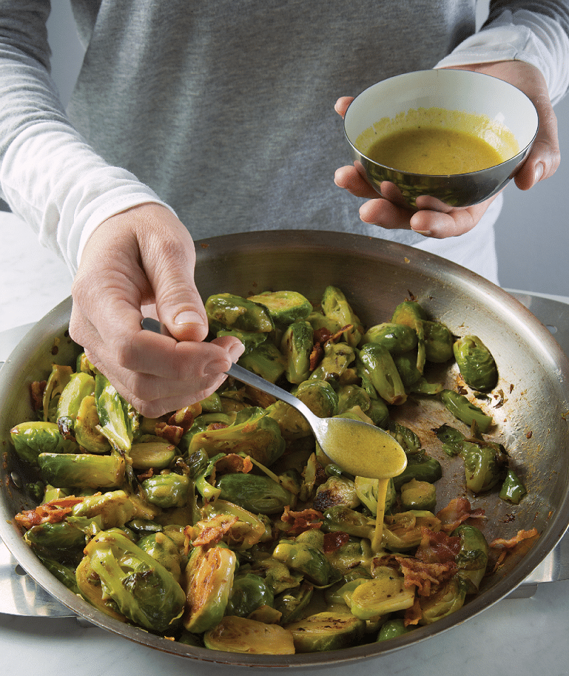 Warm Brussels Sprouts with Bacon and Mustard Vinaigrette