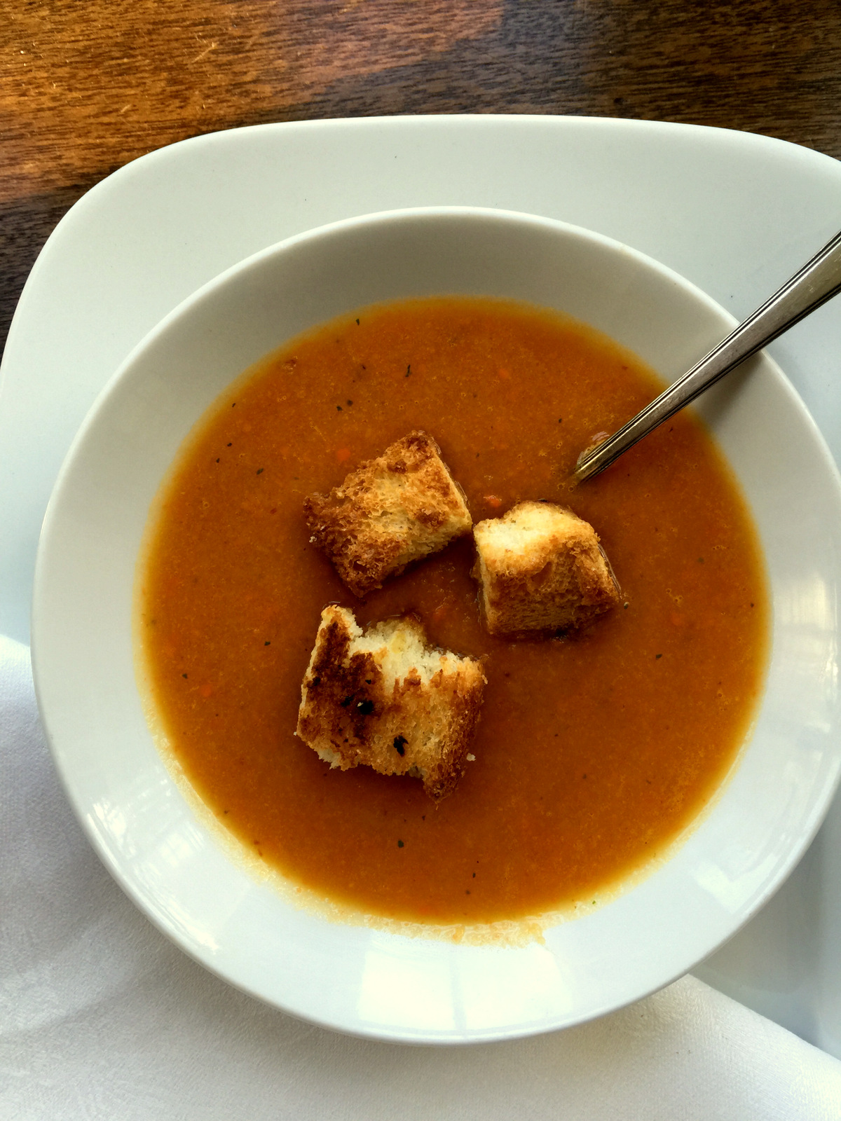 Roasted Root Vegetable Soup with Parmesan Croutons from Katie Workman/ themom100.com