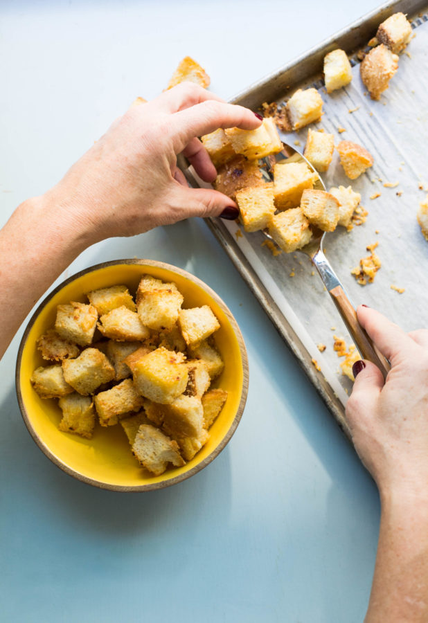 Transferring Parmesan Croutons from sheetpan into a bowl