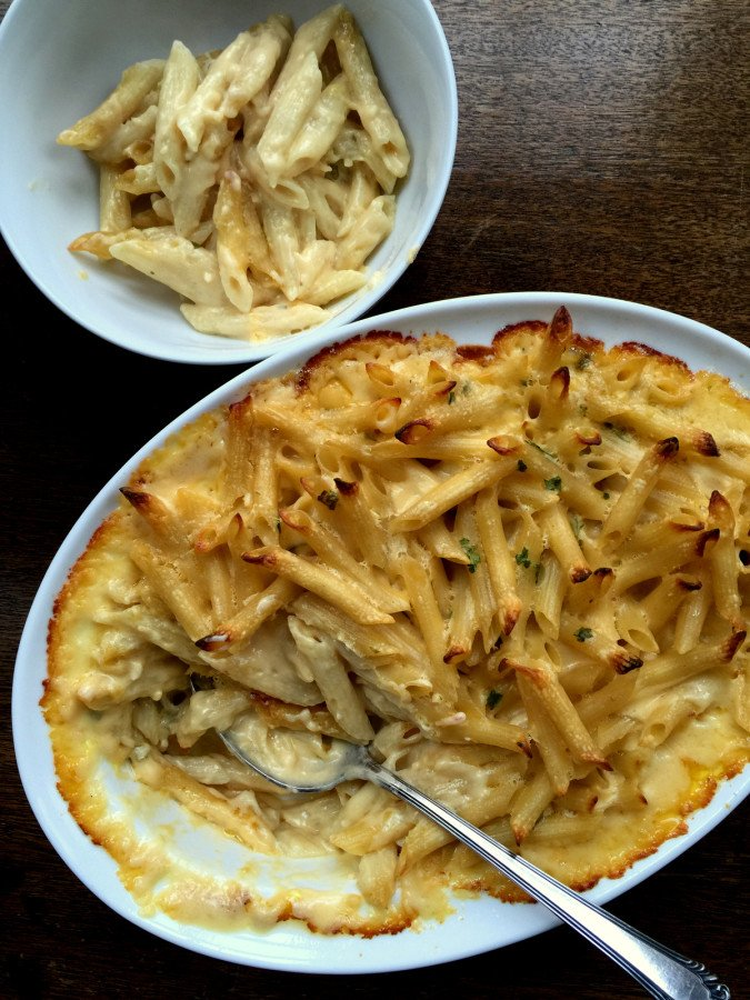 Creamy Four Cheese Penne Rigate with scoop out from Ktie Workman/ themom100.com