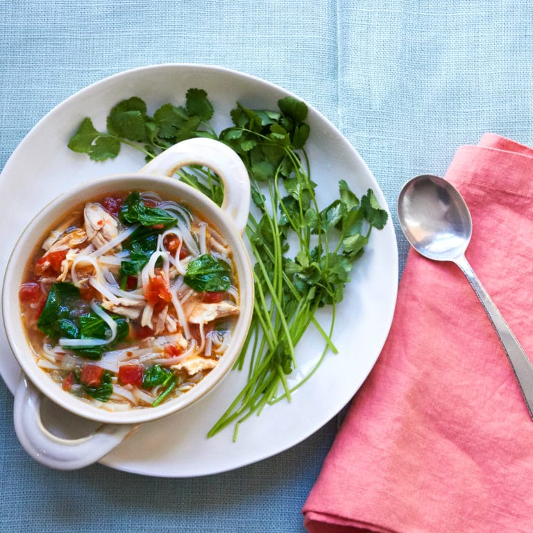 Spicy Thai Chicken and Rice Noodle Soup / Mia / Katie Workman / themom100.com