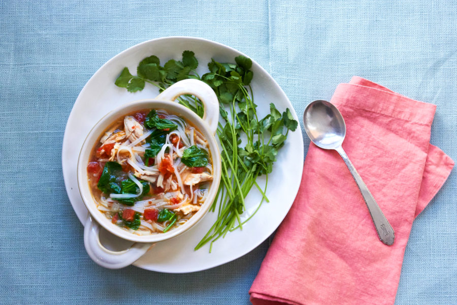 Spicy Thai Chicken And Rice Noodle Soup The Mom 100 The