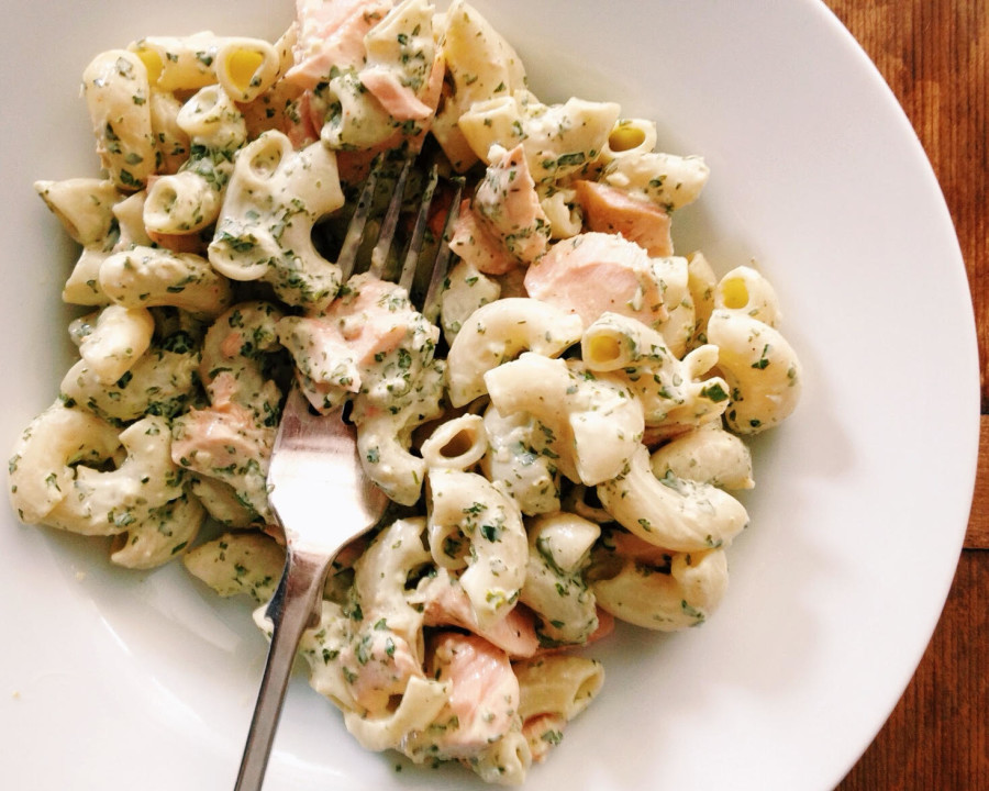 Pasta Salad with Salmon and Creamy Cilantro Dressing / Katie Workman themom100