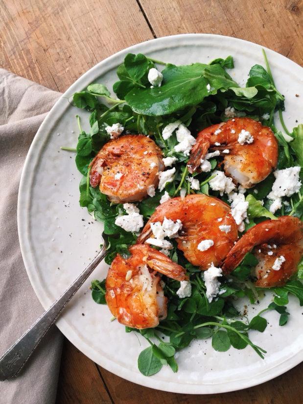 Pea Shoot Salad with Shrimp, Goat Cheese and Citrus Vinaigrette / Katie Workman themom100