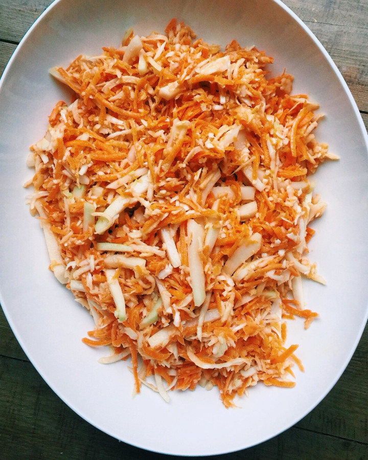 Carrot, Cabbage and Kohlrabi Slaw with Miso Dressing / Katie Workman themom100